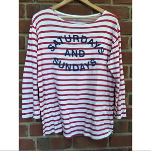 Anthro Sundry Striped Weekend T-Shirt
